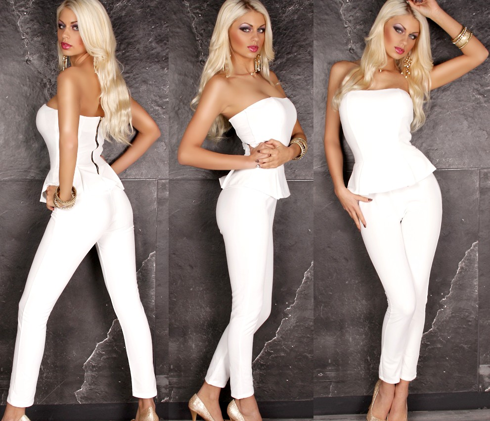 se xy bandeau overall peplum style creme weiss 40 jumpsuit. Black Bedroom Furniture Sets. Home Design Ideas