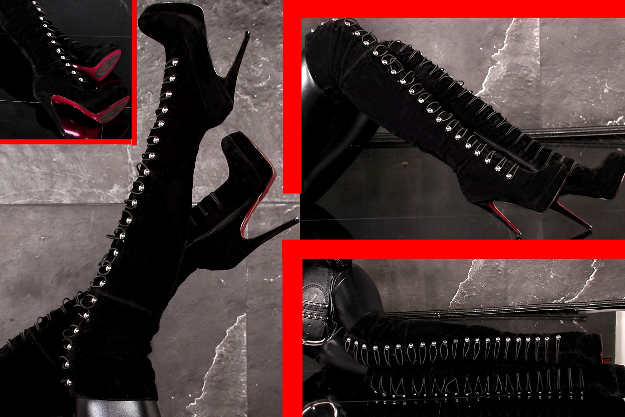 military overknee plateau high heels stiefel schwarz 35 ebay. Black Bedroom Furniture Sets. Home Design Ideas